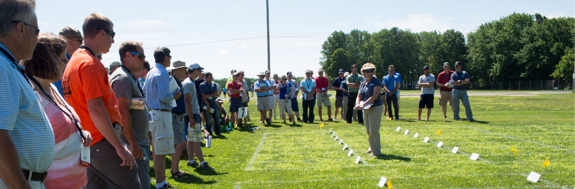 Vickie Wallace presenting to a group of people at the Turfgrass field day
